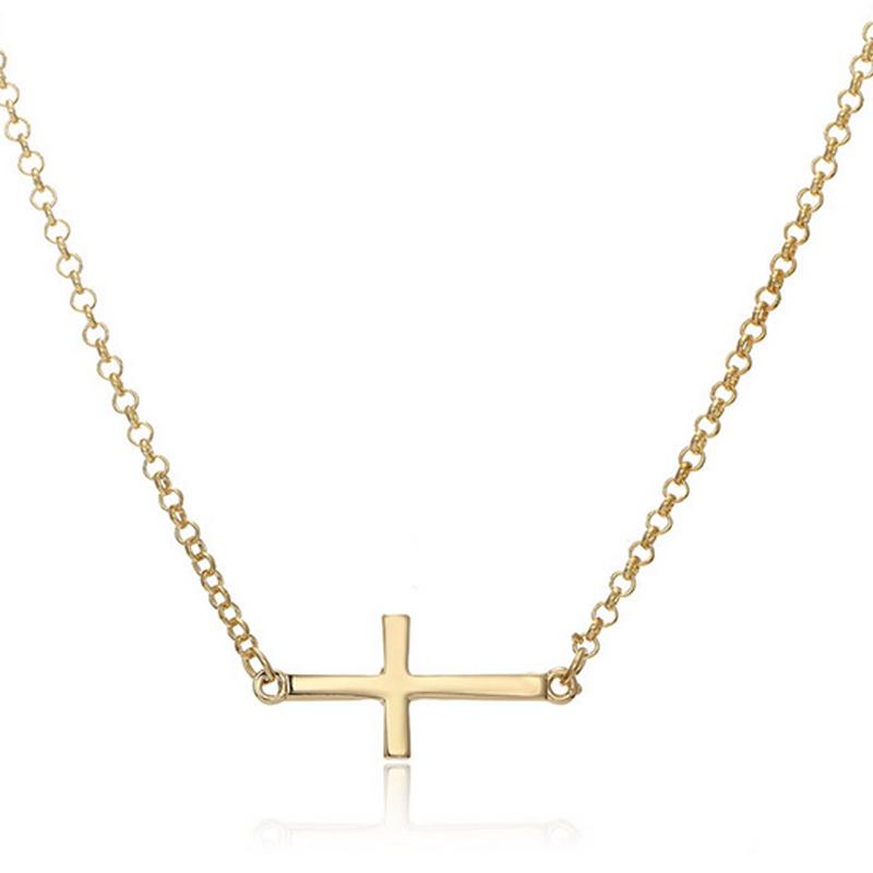 simple horizontal sideways cross pendant