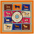 100cm 100cm MTscarf 100 Twill Silk Euro Brand French design Ten Horse Pattern Printed Women Gift