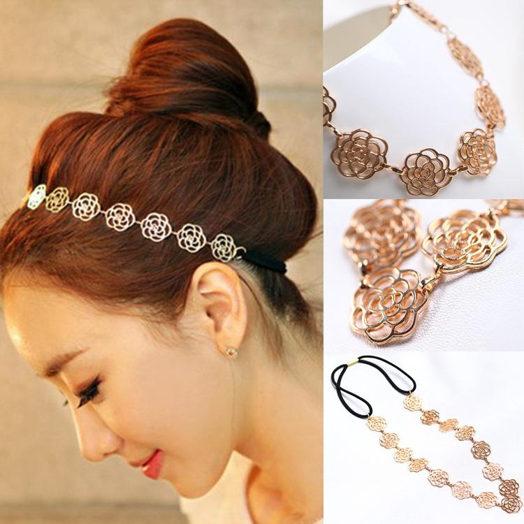 2015 New Womens Fashion Metal Chain Jewelry Hollow Rose Flower Elastic Hair Band Headband Drop Shipping - Jingtao Li Store store