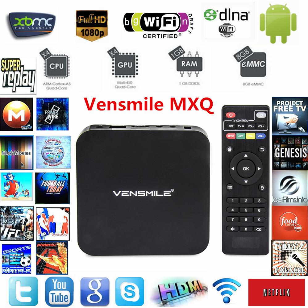Vensmile MXQ android Tv Box Amlogic S805 Quad-Core 1GB/8GB Kodi Pre installed WiFi 1080P H.265 HD Media Player+Remote Control(China (Mainland))