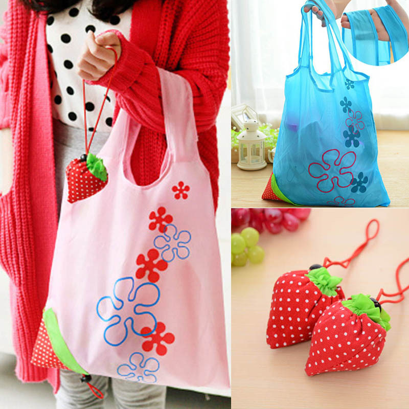 1000pcs Eco Storage Handbag Strawberry Foldable Shopping Tote Reusable Bags Free Shipping(China (Mainland))