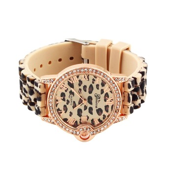 1pcs silicon dress Leopard classic rhinestones crystal watch woman lady fashion Worldwide FreeShipping