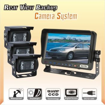 "7"" LCD REAR VIEW REVERSE BACK UP SYSTEM+3 CCD CAMERA(China (Mainland))"
