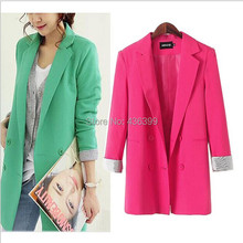 New Fashion Casual Double Breasted Long Blazer Jacket Womens Ladies Business Suits Outerwear Feminino Plus Size M XL 2XL 3XL