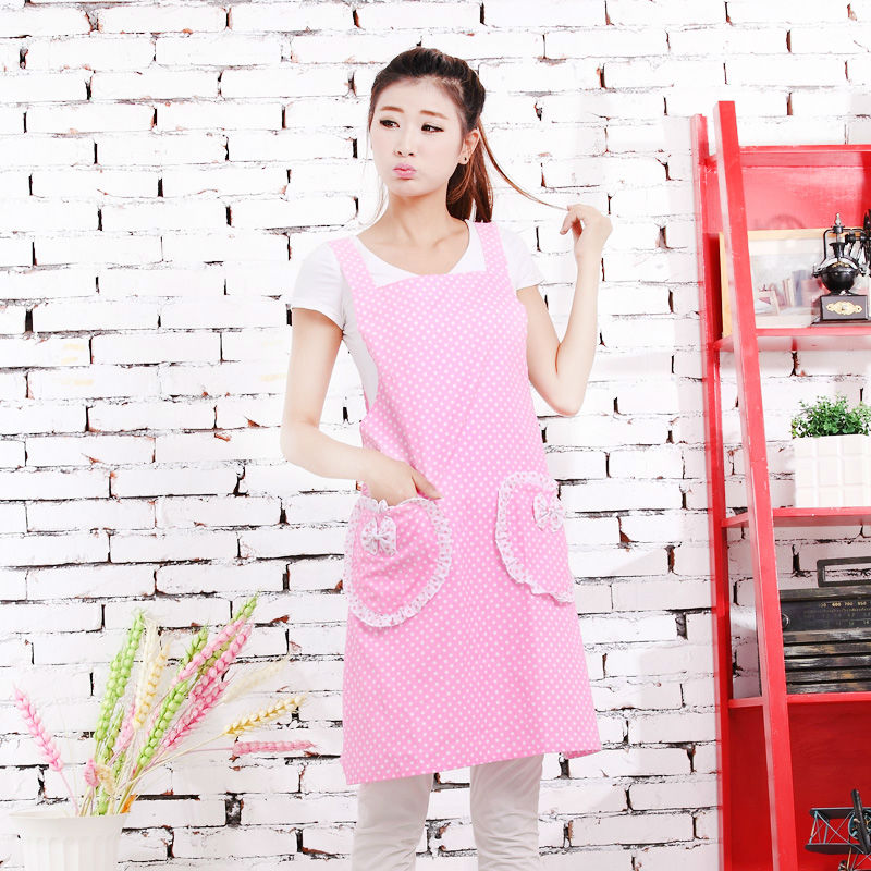 Korean cute cartoon cotton pink little apron of mother-to-child kindergarten overalls(China (Mainland))