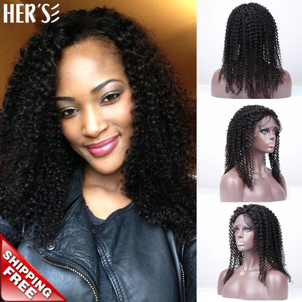 Cheap Kinky Curly Lace Wigs Glueless Full Lace Wigs Human Hair Lace Front Wigs Black Women,Natural Human Hair Full Lace Wigs(China (Mainland))