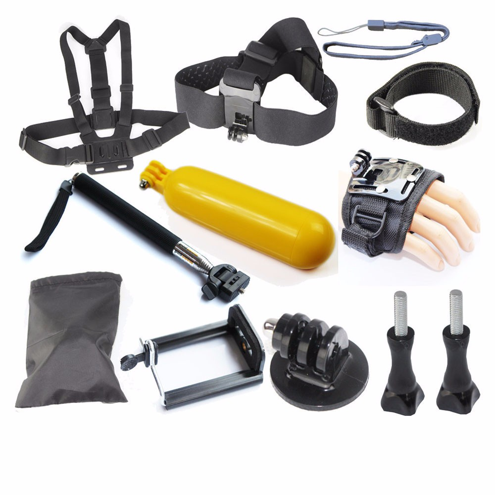 Gopro Accessories Acessorios for Go Pro Hero 1 2 3 4 Sj4000 Xiaomi Yi Floating Bobber Monopod Hand Head Chest Strap Adapter