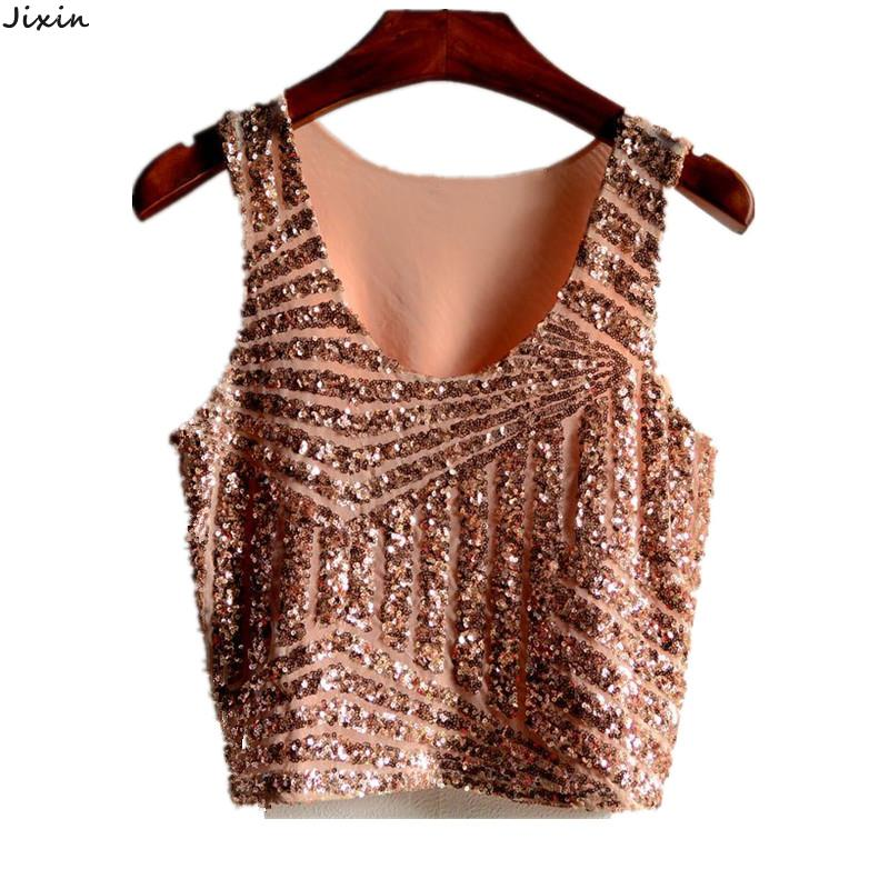 2015 New Arrival Women Tank Top Mesh Stitching Black Pink Silver Gold Sequin Sleeveless Crop Top Sexy Nightclub Clothing (China (Mainland))