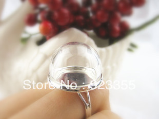 Free shipping >>> 30sets/lot DIY Ring-Glass Globe Bubbles opening 20mm + 20mm silver plated adjustable ring base(China (Mainland))