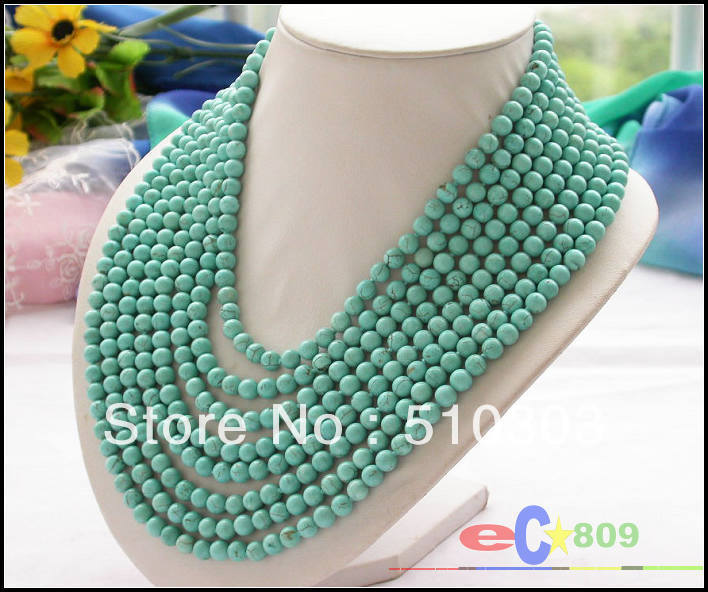 8 Strands 6 mm round green turquoise bead necklace magnet(China (Mainland))
