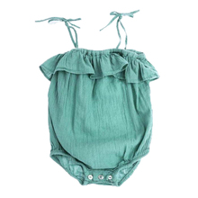 Baby Girl Summer Bodysuits Infant Cotton Camisole Green Jumpsuits Newborn Toddles Fashion Clothing 2015New arrival(China (Mainland))