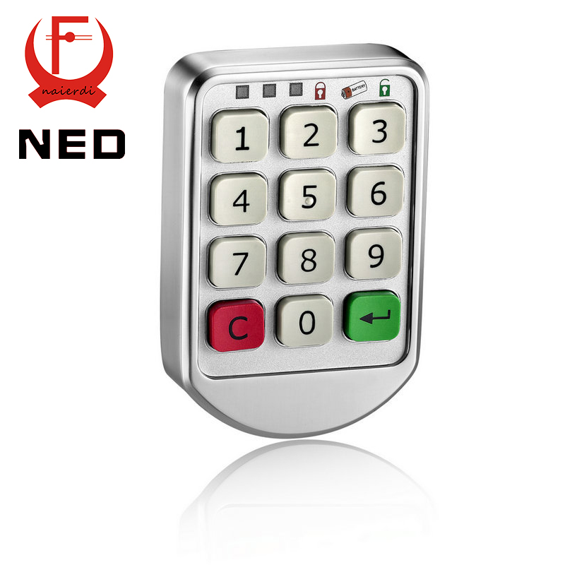 5PCS NED-906 Silver Metal Digital Electronic Password Intelligent Lock Keypad Number Cabinet Code Sauna Lock Backup Power Choice(China (Mainland))