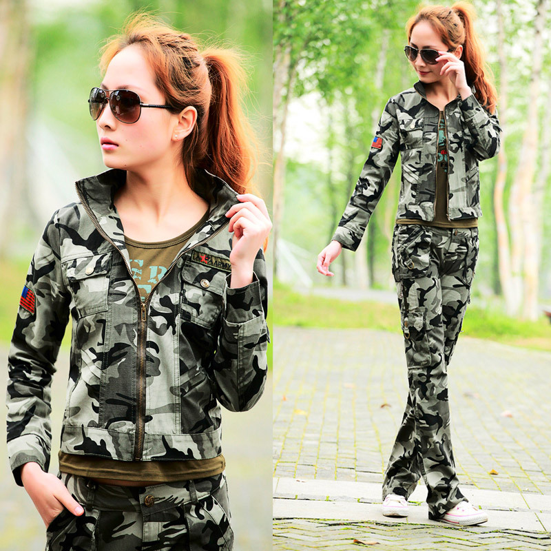 FreeShipping women's Camouflage jacket spring autumn casual Army Green short coat military camou outwear tops zipper M L XL XXL(China (Mainland))