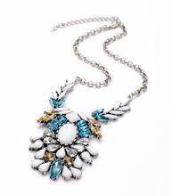 Women Costume Jewelry 2015 Fashion Glass Resin Zinc Alloy Trendy Collar Dress Pendant Necklace