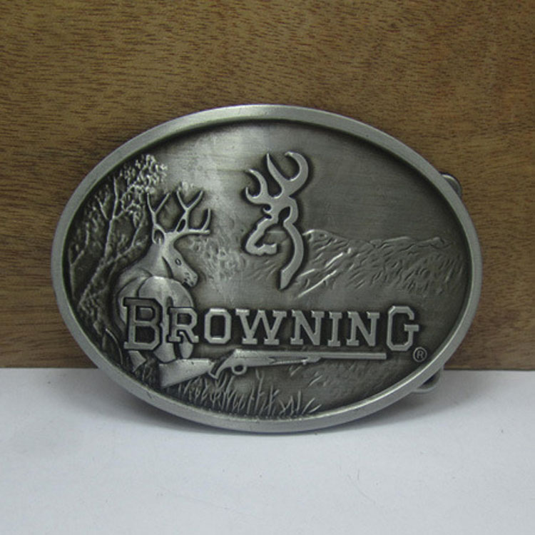 new style browning belt buckle oval silver metal for 4cm 1