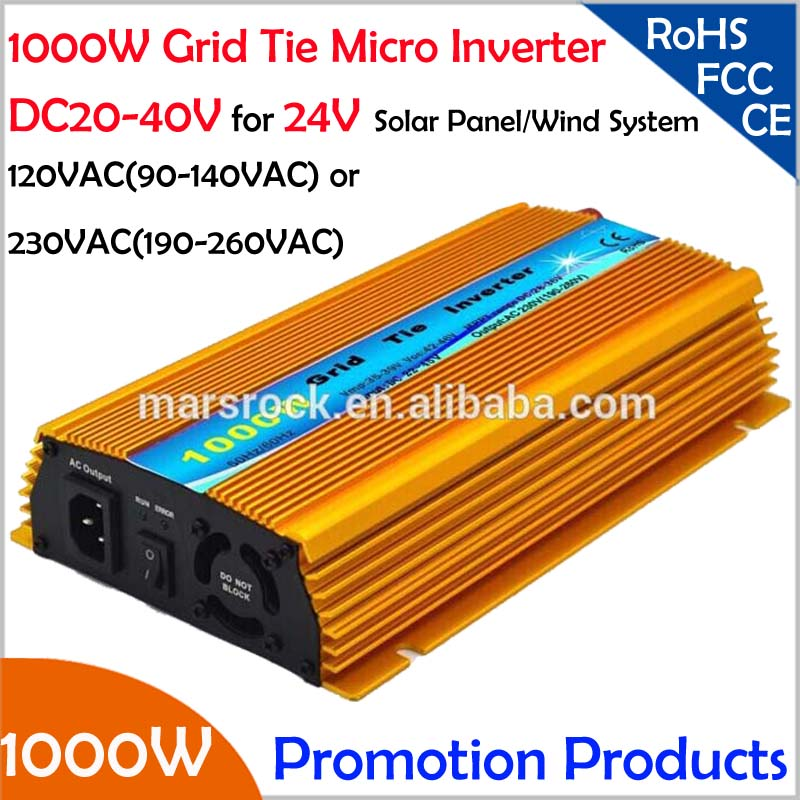 FREE Shipping!!1000W 24V Grid tie micro inverter, DC20V~40V, AC90V-140V or 190V-260V for 1200W 24V Solar panel and Wind Power !(China (Mainland))