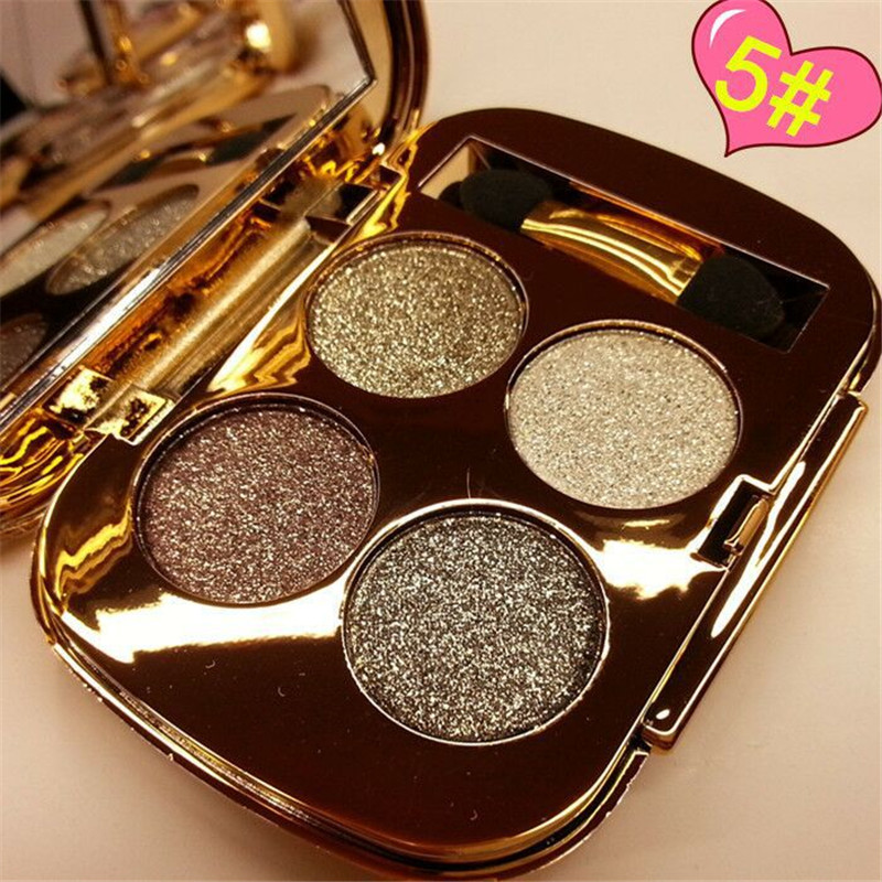 Explosion models 4 color eye shadow waterproof shine eye shadow for beauty girl Beauty essential tool free shipping G429(China (Mainland))