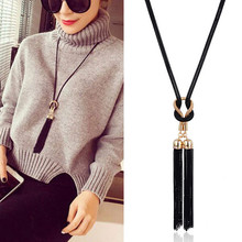 Buy Kymyad Collier femme New Long Necklace Women Tassel Necklaces & Pendants Black Chain Necklace Bijoux Sweater Statement Necklace for $3.33 in AliExpress store