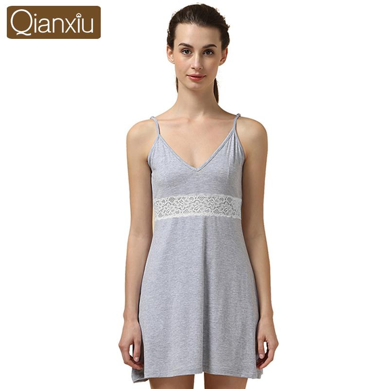 Qianxiu Summer Night skirt Mini Sleeveless Nightgown For women Knitted Modal sleepshirts(China (Mainland))