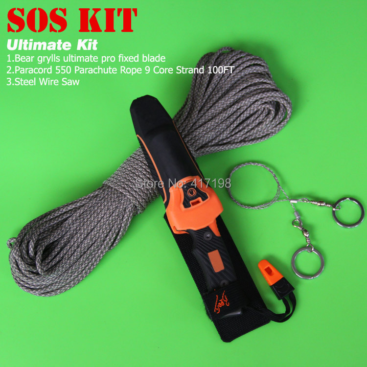 Ultimate camping hiking travel rescue Emergency kit,SOS set,camping knife+fire starter+whistle+parachute rope+wire saw(China (Mainland))