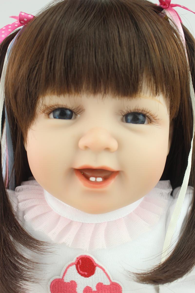 22 inch 55cm solid silicone reborn babies lifelike lovely girl dolls by NPK  Fashion boneca reborn Kids Toys
