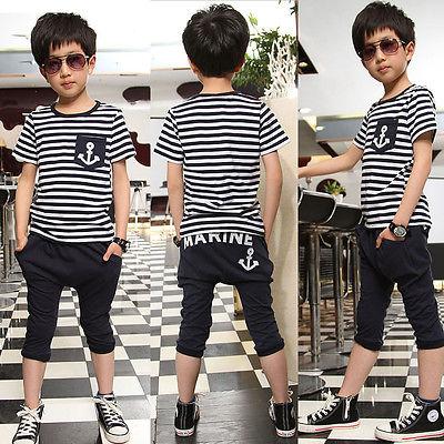2015 Kids Boys 2Pcs Marine Anchor Set Short Sleeve Striped Tops+Half Haren Pant(China (Mainland))