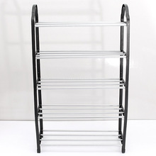 Hot Sale Portable Hign Quality Luxury Aluminum 5 Tier Shoe Tower Rack Stand Space Saving Organiser Storage Unit Shelves Black(China (Mainland))