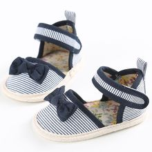 Striped Bowknot Princess Shoes Infant Anti Slip Sandals Cute Baby Girls Shoes 0-18M(China (Mainland))