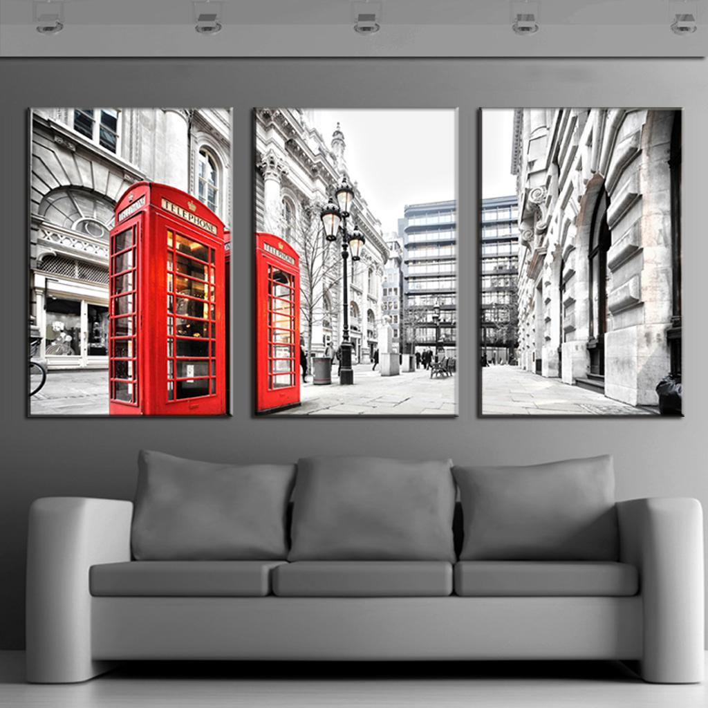 3 Pcs/Set Modern Wall Paintings Canvas Prints London Red Telephone Box Canvas Picture Wall Art Top Home Decoration(China (Mainland))