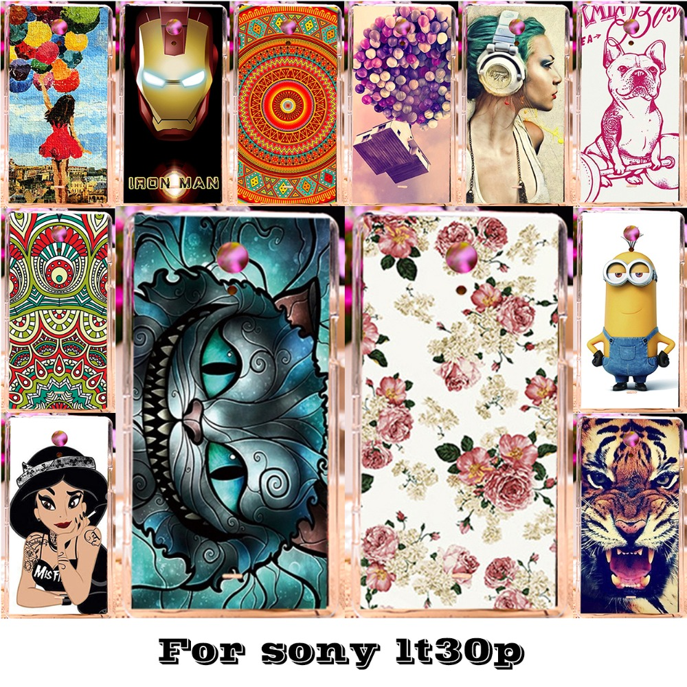 Luxury Painted Mobile Phone Skin Cases For Sony Xperia T Lt30p Lt30 LT30I Covers Protective Bags 18 Styles Plastic Durable Shell(China (Mainland))