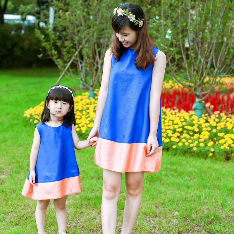 Hot!2016 Summer New Hit Color Stitching Dress Sleeveless Mini Skirt Waist Thin Puff Princess Dress Mother Daughter Dresses 9A23(China (Mainland))