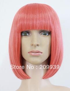 Free Shipping Hot beautiful short bright red straight bob cosplay lady hair full wig(China (Mainland))