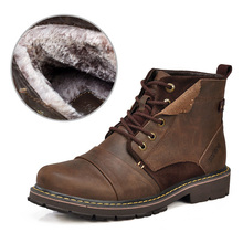Winter men boots warm genuine leather boots with fur waterproof motorcycle boots free shipping plus size(China (Mainland))