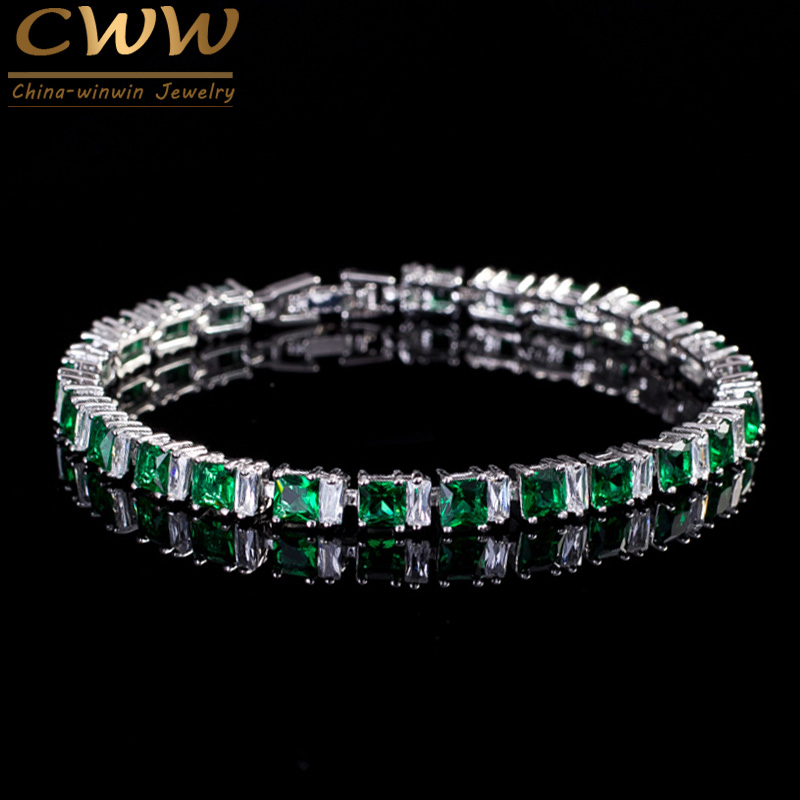 8 Color Choices High Quality Cubic Zirconia Paved Square Created Emerald Green Stone Fashion Bracelets Jewelry For Women CB146(China (Mainland))