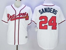 Premier Stitched Deion Sanders Jersey White Cream Navy Blue Red, 2016 Newest Atlanta Braves 24 Deion Sanders Baseball Jersey(China (Mainland))