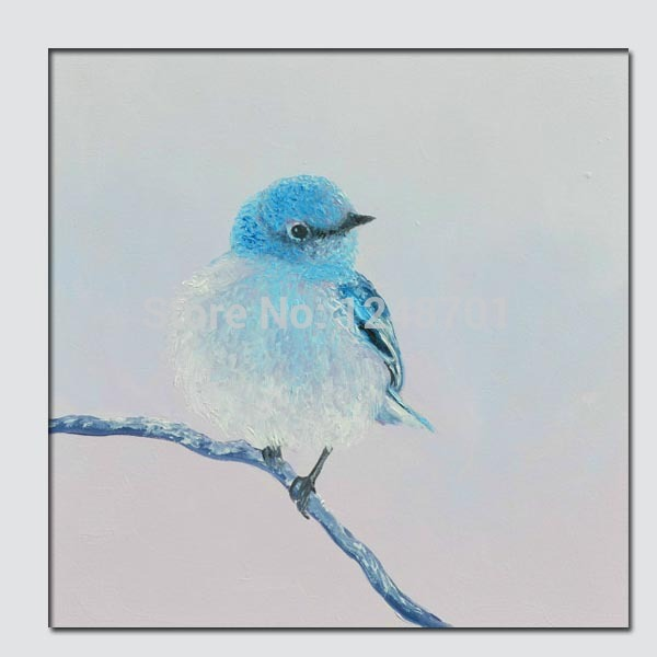 Hand Pained Blue bird oil painting, animal art, kids room wall painting art abstract oil canvas wall art(China (Mainland))