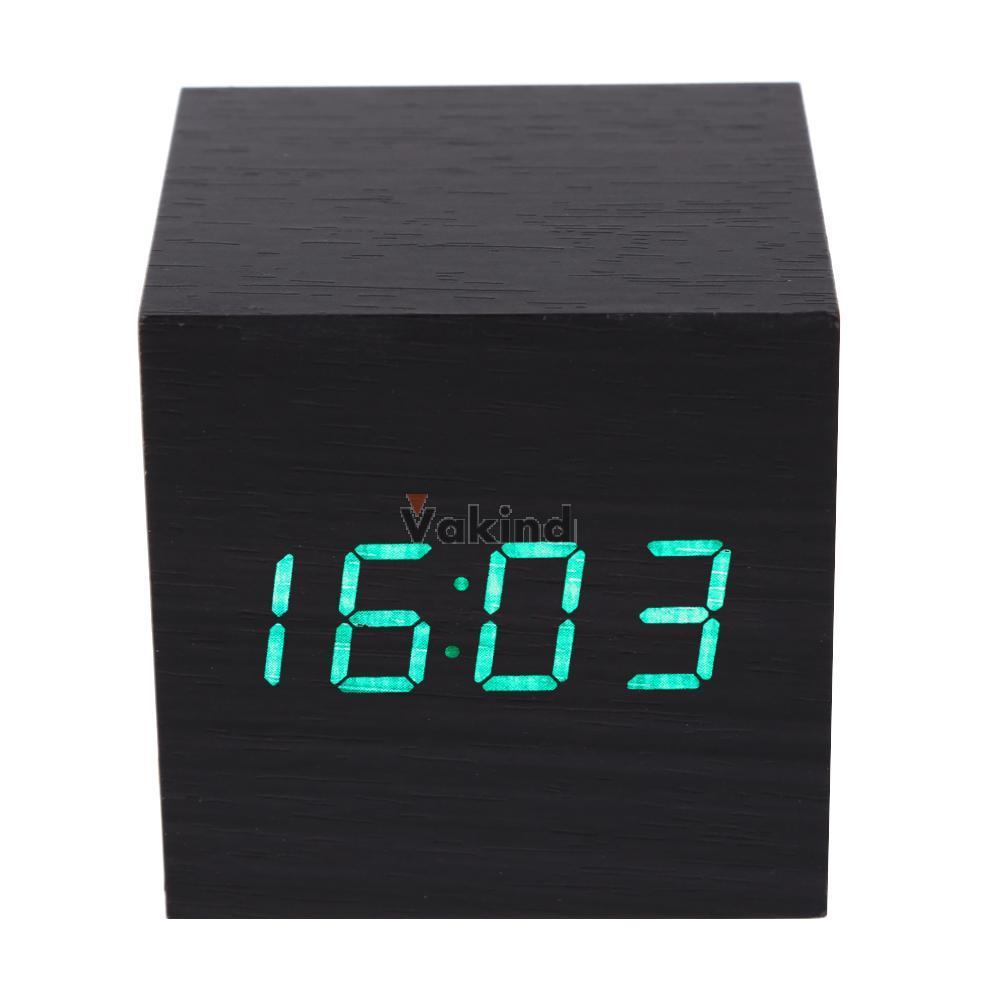 V1NF Modern Wooden Digital Desk Black Alarm Clock Green LED Thermometer(China (Mainland))