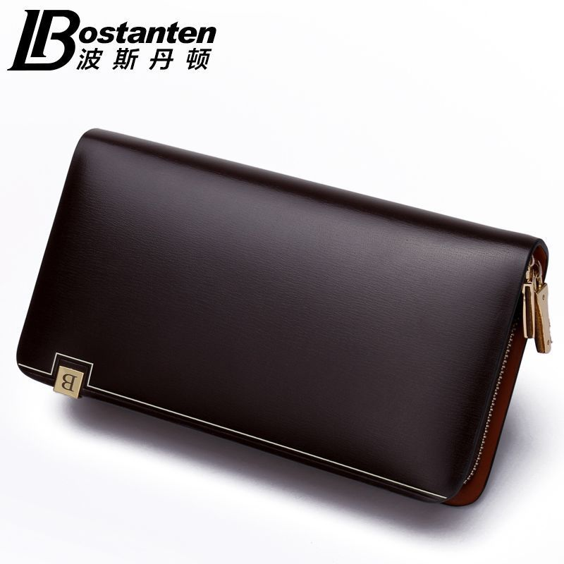 BOSTANTEN 2015 New Mens Fashion Genuine Leather Casual Zipper Large capacity Design Cowhide Wallet Hand Bag Clutch Purse<br><br>Aliexpress