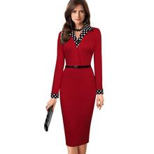נחמד לנצח נשים בציר תורו למטה צווארון ללבוש לעבודה vestidos משרד Bodycon ארוך שרוול טלאים נדן פולקה שמלת b334(China)