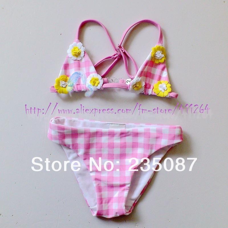 Retails(1-3Y) kids bikinis swimsuit girls daisy bikini monnalisa checked bikini with daisies plaid swimwear gingham bikini(China (Mainland))