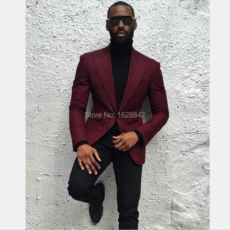 2017Hot Sale Wine Red Blazer Single Breasted Two Buttons Tailor Made Wedding Suit Jacket Casual Custom Made Costume Homme