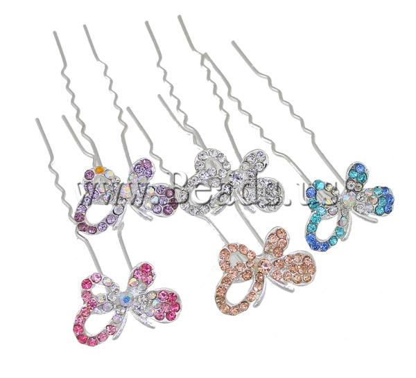 Free shipping!!!Hair Pins,Korean, Zinc Alloy, Butterfly, silver color plated, with rhinestone, nickel, lead & cadmium free