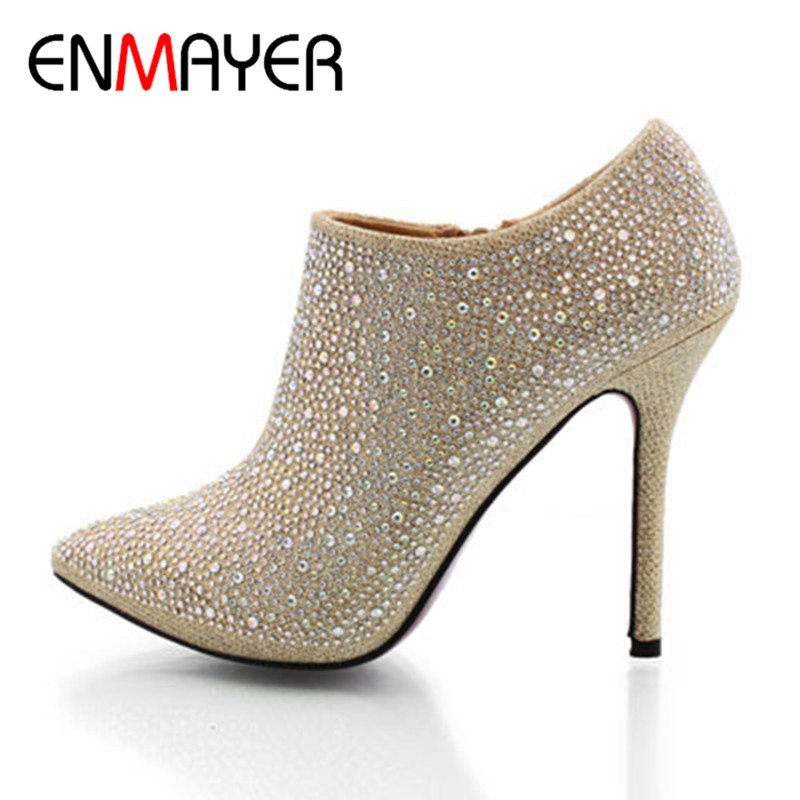 Фотография ENMAYER 11 cm high heels women wedding shoes Slipper Rhinestone 3500 high quality wedding heels platform pumps