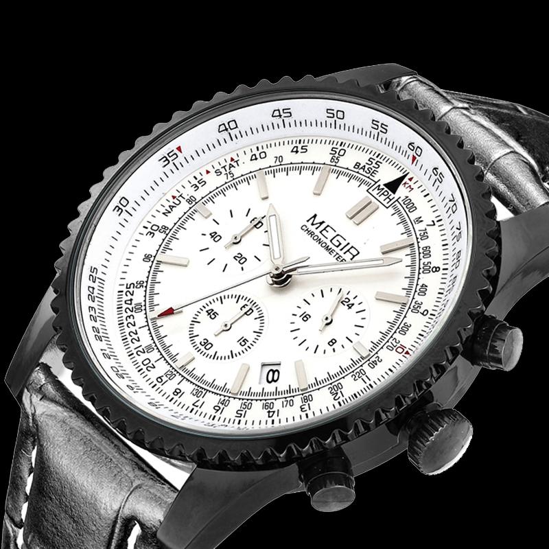 MEGIR men watch brand luxury watches the highest military 24 hour chronograph hand 6 men leather