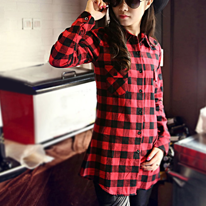 Fashionable women shirts 2015 new red black plaid flannel Womens red tartan plaid shirt