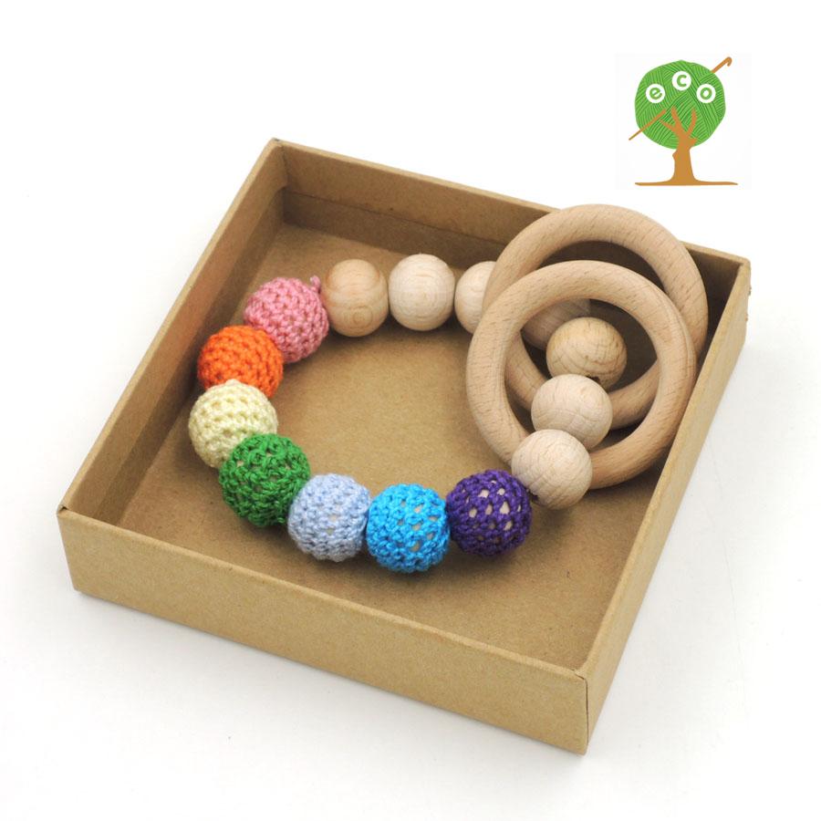 Organic nursing toy spring pastel crochet bead beech wooden beads beech ring baby teether shower gift rattle toddler ET19(China (Mainland))