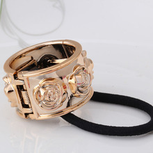 New Fashion Alloy Rose Flower Designer Elastic Rubber Bands Punk Metal Hair Accessories Hair Ropes Headband Scrunchy(China (Mainland))