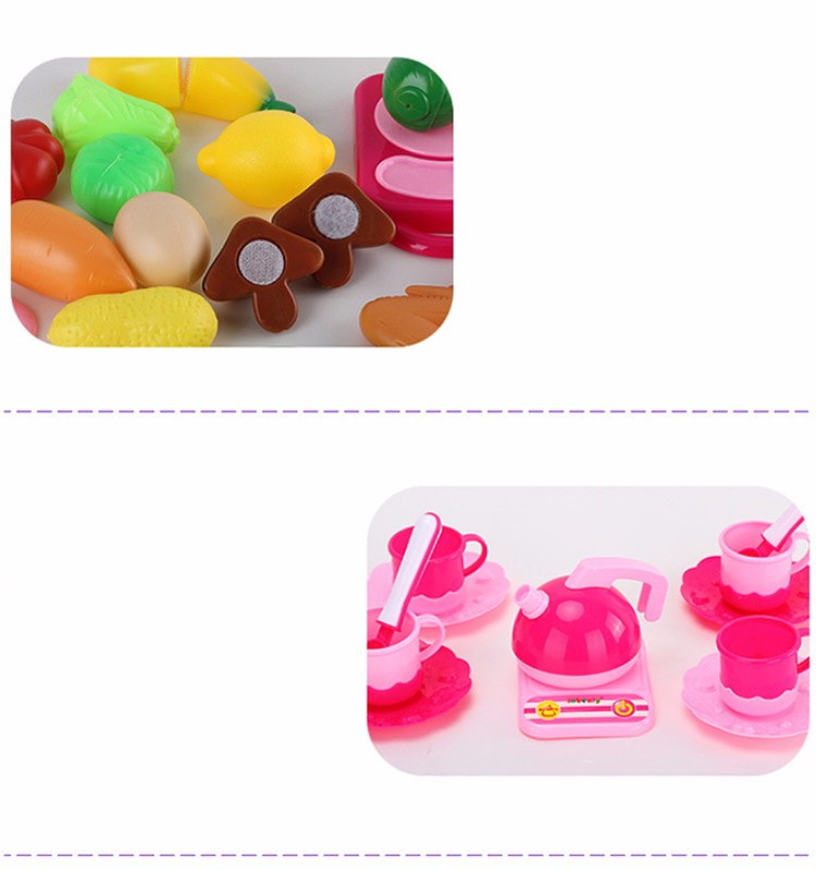Buy 46pcs Pink Pretend Play Kitchen Toys Baby Kitchen For Children Miniature Food Fruit Vegetable Cooking Toys Cutting Knife Kettle cheap