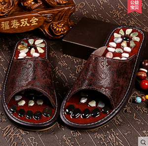 Pebbles massage slippers massage point health foot massage shoes summer men and women lovers soft bottom home cool slippers(China (Mainland))