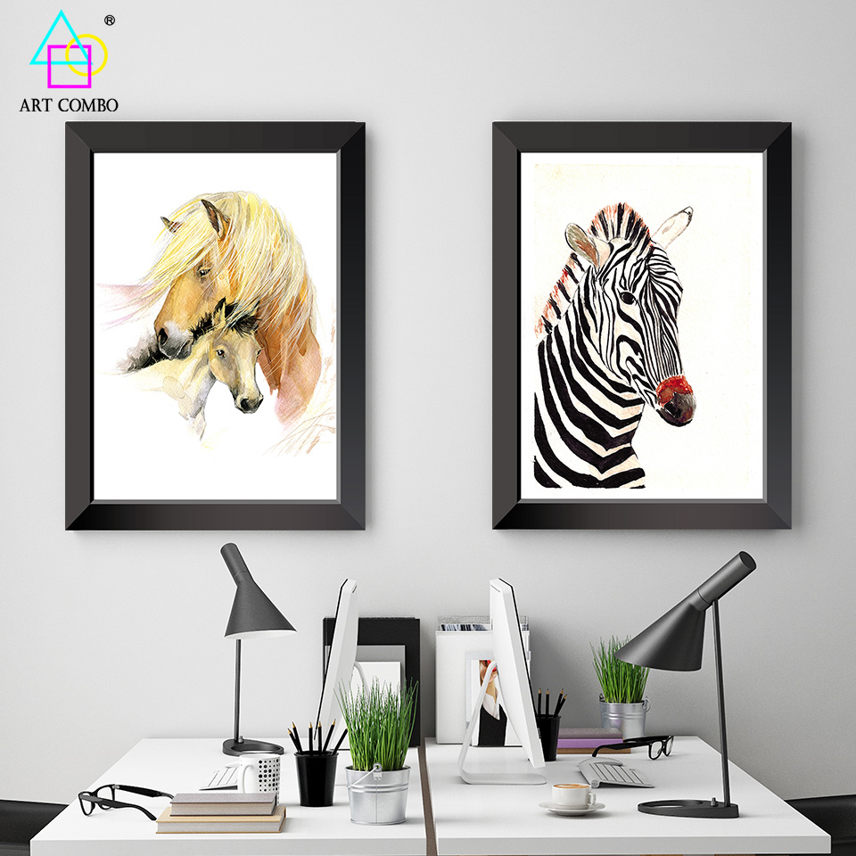 Unframed Modern Animals Painting Close Horses Zebra Wall Art Painting on Canvas Home Decoration Picture ART COMBO XG022(China (Mainland))